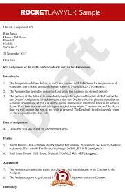 contract letter assigning a contract deed of assignment of contract