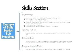 Skills Section For Resumes Cv Skills Template Thegarzas Me