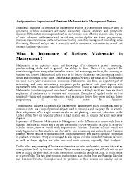 business math doc assignment on importance of business mathematics in