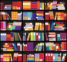 shelves full of colorful books home library with books vector