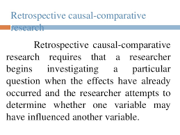 Causal Comparative Study Causal Comparative Research