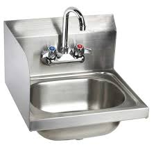 16 stainless steel wall hung hand sink with faucet left side splash