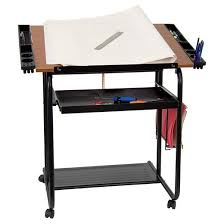 Adjustable Drawing and Drafting Table Black Flash Furniture Tar