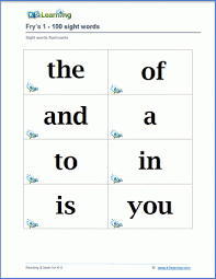 There is a flash card printable set for each level. Fry Sight Words Flashcards K5 Learning
