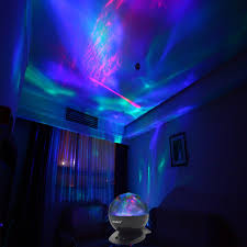 aurora projector led night light color changing lamp font rotation with timer player for kid room bedroom nursery decor com