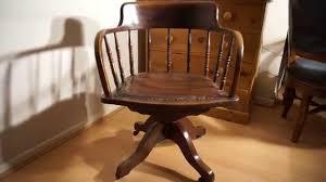 desk chair wood. Antique Oak Captains Desk Chair Swivel \u0026 Height Tilt Adjustable Wood L