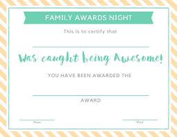 Kids Award Certificate Family Awards Night Giving Children A Sense Of Belonging
