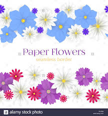 Paper With Flower Border Colorful Vector Paper Flowers Horizontal Seamless Borders