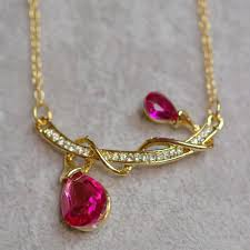 details about gold plated pink austrian crystal and rhinestones teardrop pendant necklace