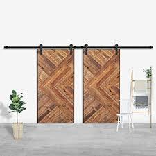 smartstandard 13 ft double door sliding barn door hardware black j shape hangers