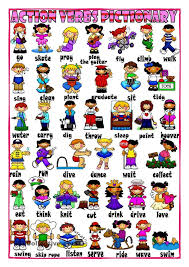 Action Words Chart With Pictures Image Result For Children Action Words Charts English