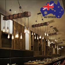 retro farmhouse wood beam island hanging pendant light bar kitchen decor 10 bulb