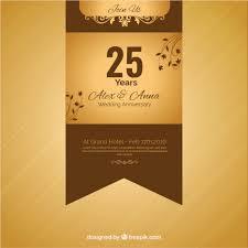 Anniversary Ribbon Twenty Fifth Anniversary Golden Ribbon Vector Free Download
