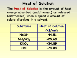 Heat Of Solution Chart Formation Of Solutions Presentation Chemistry Sliderbase