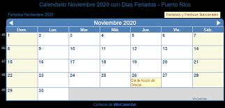 Calendario Noviembre 2020 Para Imprimir Calendario Noviembre 2020 Para Imprimir Puerto Rico