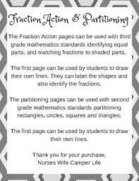 Third Grade Mathematics Chart Fraction Action And Partitioning Anchor Charts