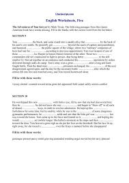 English Worksheets, The Adventures of Tom Sawyer 8th - 9th Grade ...