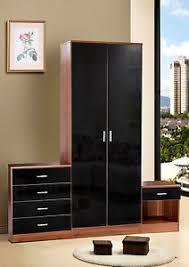bedroom furniture black gloss. Image Is Loading Walnut-Black-Gloss-Bedroom-Furniture-3-Piece-Trio- Bedroom Furniture Black Gloss C