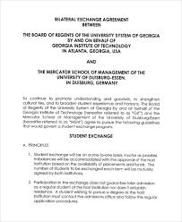 Student Exchange Agreement Template Exchange Agreement Templates 10 ...