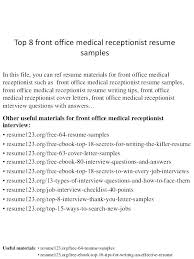 Sample Resume For Receptionist Position Best Of Sample Resume Of A Receptionist Receptionist Resume Sample Medical