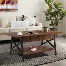 Iron Center Table Design Yesker Industrial Coffee Table Two Tier Rectangular Center Table With Open Storage Shelf For Living Room Accent Cocktail Table With Wood And Metal