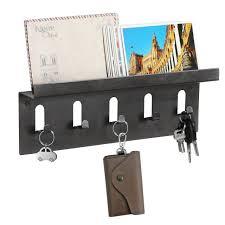 mygift wall mounted mail holder shelf w 5 key hooks organizer storage rack