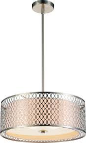 3 light drum shade chandelier with satin nickel finish