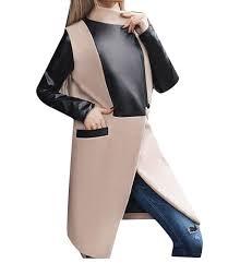 abetteric womens stitching plus size autumn wrap stand collar pocket pea coat b076nc6748