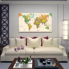 High Resolution Print World Map Large Size Canvas Art For Office Decor Wholesale Canvas Print Manufacturer Buy World Map Office Decor Art Wholesale