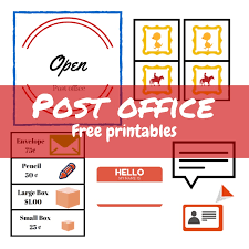P is for post office - imaginative play free printables - STELLA123