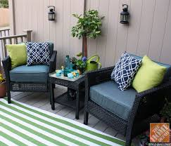 home depot decorating ideas. small deck decorating ideas: hampton bay fenton chat set with green striped outdoor rug, home depot ideas c