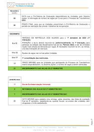 Calendário Escolar 2021 – Pró-Reitoria de Graduação