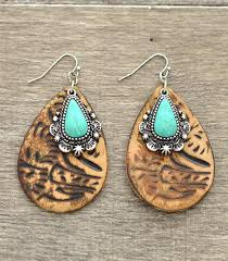whole handbag fashion jewelry whats new er3216bn turquoise accent tooled leather earrings at yktrading com