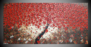 zoom on large 3d flower wall art with painting tree painting red flower art wall art acrylic