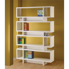White modern bookshelf White Lacquer Cymax Coaster Four Tier Modern Bookcase In White 800308