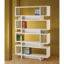White modern bookshelf White Lacquer Cymax Coaster Four Tier Modern Bookcase In White 800308