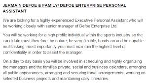 Personal Manager Job Description Jermain Defoes Job Ad For 60 000 Personal Assistant Is So