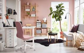white office design. A Pink And White Home Office With A Sit/stand SKARSTA Desk. Design E