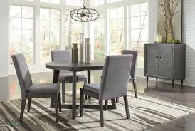 besteneer dark gray 6 pc round dining table 4 upholstered side chairs server