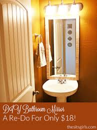 diy bathroom mirror redo project is easy and it only costs 18