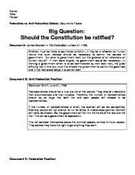 Dbq Constitution Debate Federalists Vs Anti Federalists