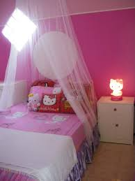 Pink Wall Paint In Teenage Girl Room Ideas Has Mosquito Net On Single White  Bedstead Beside ...
