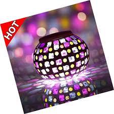 senbowe solar powered mosaic glass ball led garden lights color changing sol