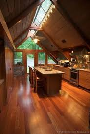 rustic kitchen in a frame cabin love all that wood natural light from ceiling kitchen design ideas