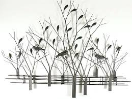 metal wall art birds trees