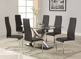 coaster modern dining black faux leather dining chair with chrome legs coaster fine furniture