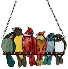 staed wdow s stained glass birds on a wire window art