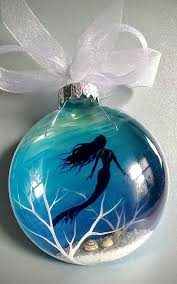mermaid ornament hand painted glass blue aquatic nautical holiday gift beachy coastal tree decor beautiful