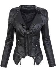 gothic faux leather pu jacket women winter autumn