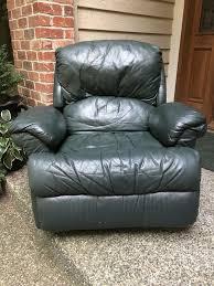dark green leather recliner